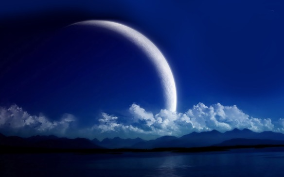 clouds and crescent moon